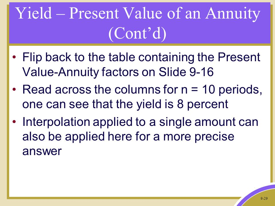 9-29 Yield – Present Value of an Annuity (Cont'd) Flip back to the table containing the Present Value-Annuity factors on Slide 9-16 Read across the columns for n = 10 periods, one can see that the yield is 8 percent Interpolation applied to a single amount can also be applied here for a more precise answer