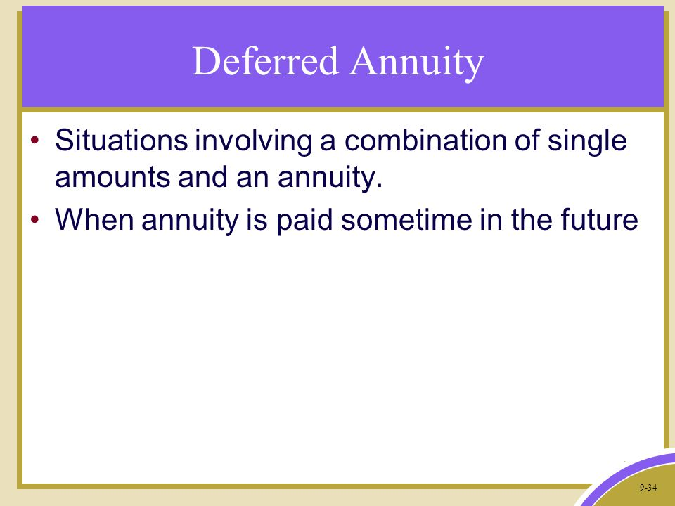 9-34 Deferred Annuity Situations involving a combination of single amounts and an annuity.