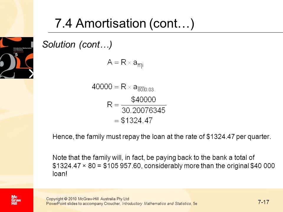 7-17 Copyright  2010 McGraw-Hill Australia Pty Ltd PowerPoint slides to accompany Croucher, Introductory Mathematics and Statistics, 5e 7.4 Amortisat