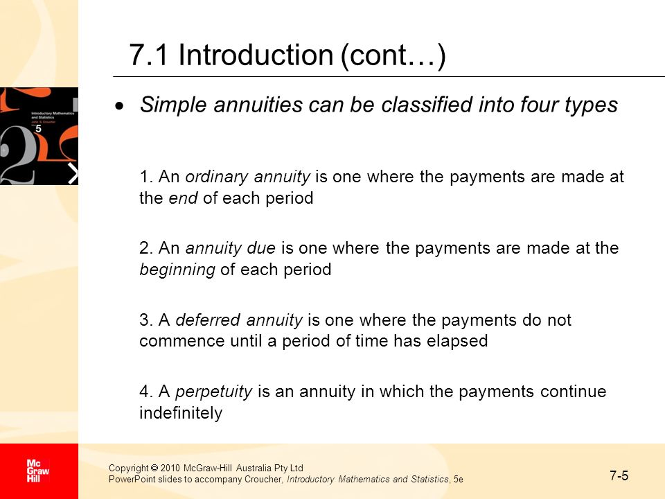 7-16 Copyright  2010 McGraw-Hill Australia Pty Ltd PowerPoint slides to accompany Croucher, Introductory Mathematics and Statistics, 5e 7.4 Amortisation (cont…) Example A family undertakes a mortgage of $40 000 from a bank in order to buy its new home.
