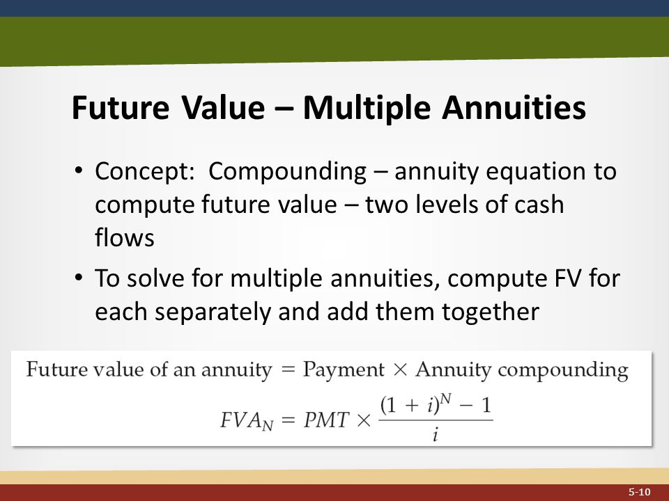Future Value – Multiple Annuities Concept: Compounding – annuity equation to compute future value – two levels of cash flows To solve for multiple annuities, compute FV for each separately and add them together...
