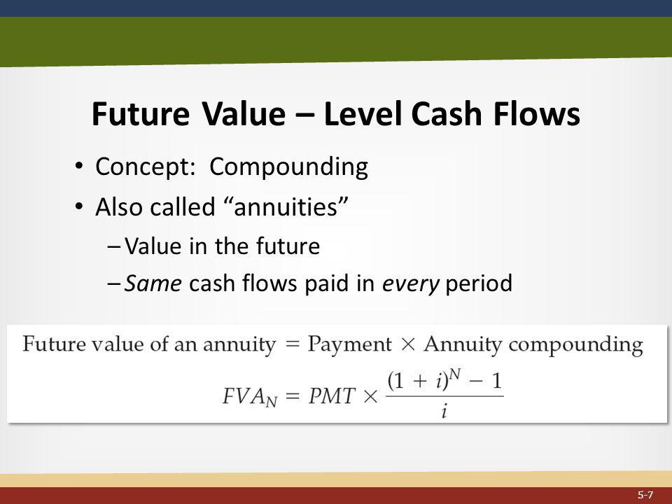 Future Value – Level Cash Flows Concept: Compounding Also called annuities –Value in the future –Same cash flows paid in every period...