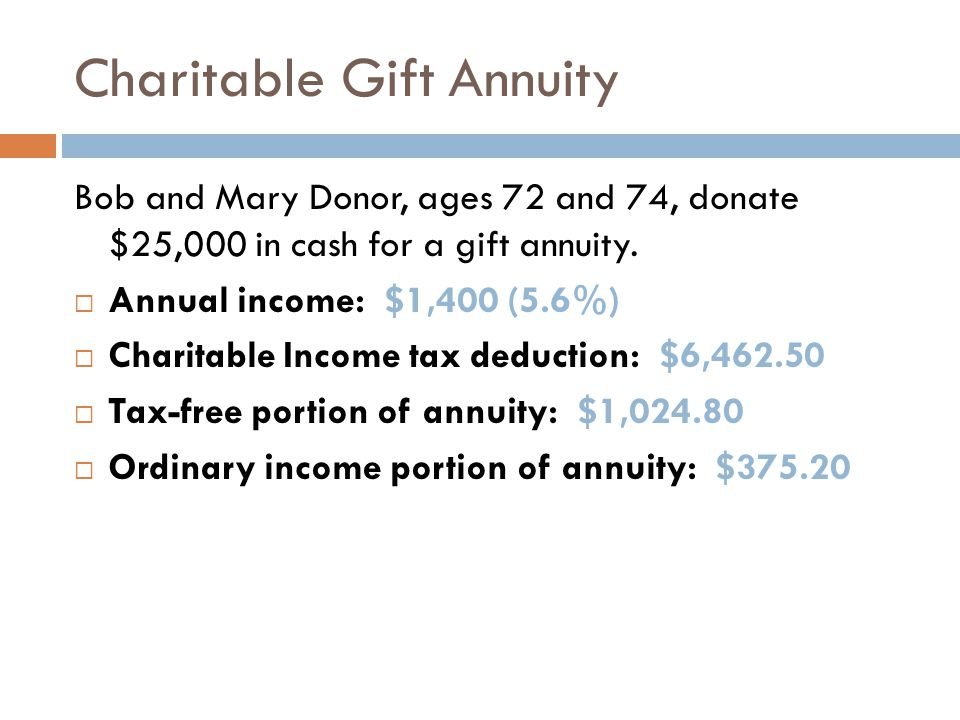 Charitable Gift Annuity Same example, but donation of $25,000 of appreciated stock with a cost basis of $10,000 and a dividend yield of 2%.