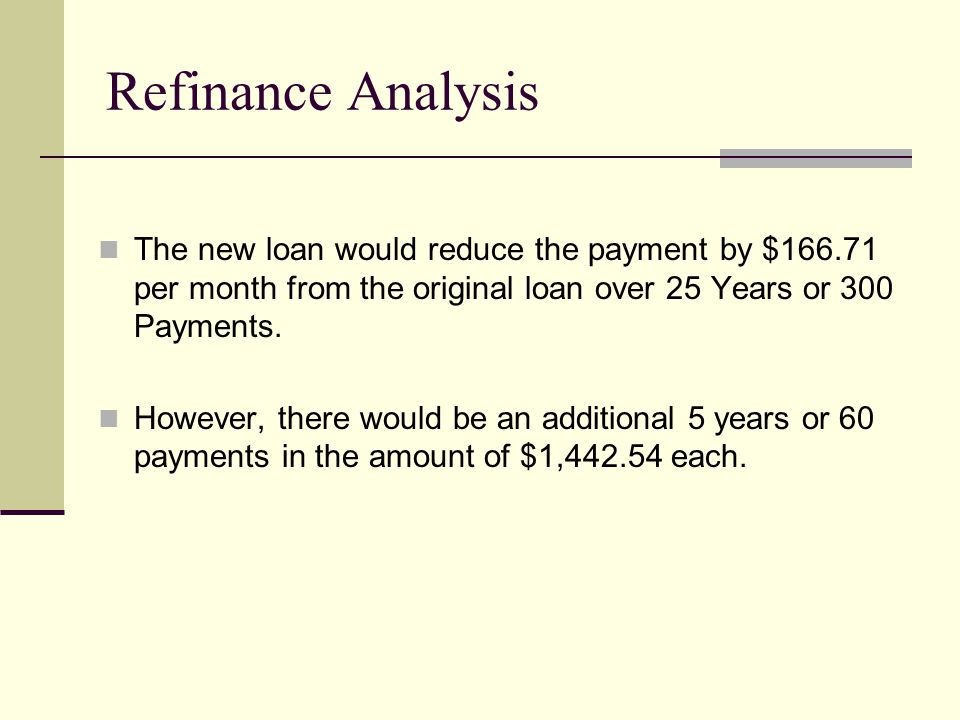 The new loan would reduce the payment by $166.71 per month from the original loan over 25 Years or 300 Payments.