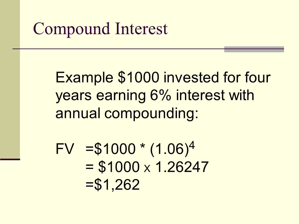Compound Interest Example $1000 invested for four years earning 6% interest with annual compounding: FV =$1000 * (1.06) 4 = $1000 X 1.26247 =$1,262