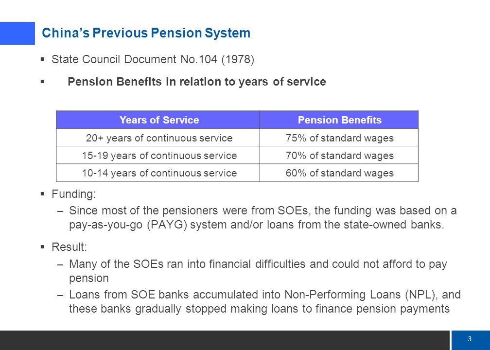 4 Mercer  Because of the PAYG problems, the government had been trying to reform the pension system since the 1990's  State Council Document No.