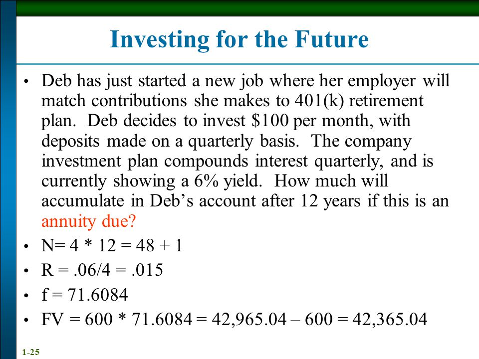1-25 Investing for the Future Deb has just started a new job where her employer will match contributions she makes to 401(k) retirement plan.