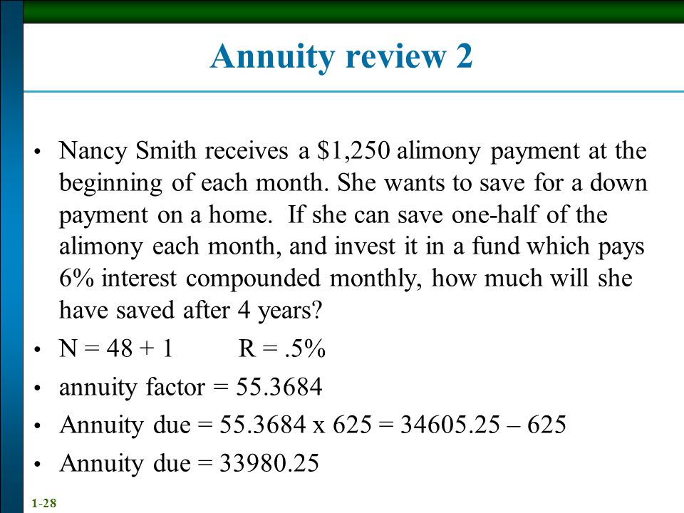 1-28 Annuity review 2 Nancy Smith receives a $1,250 alimony payment at the beginning of each month.