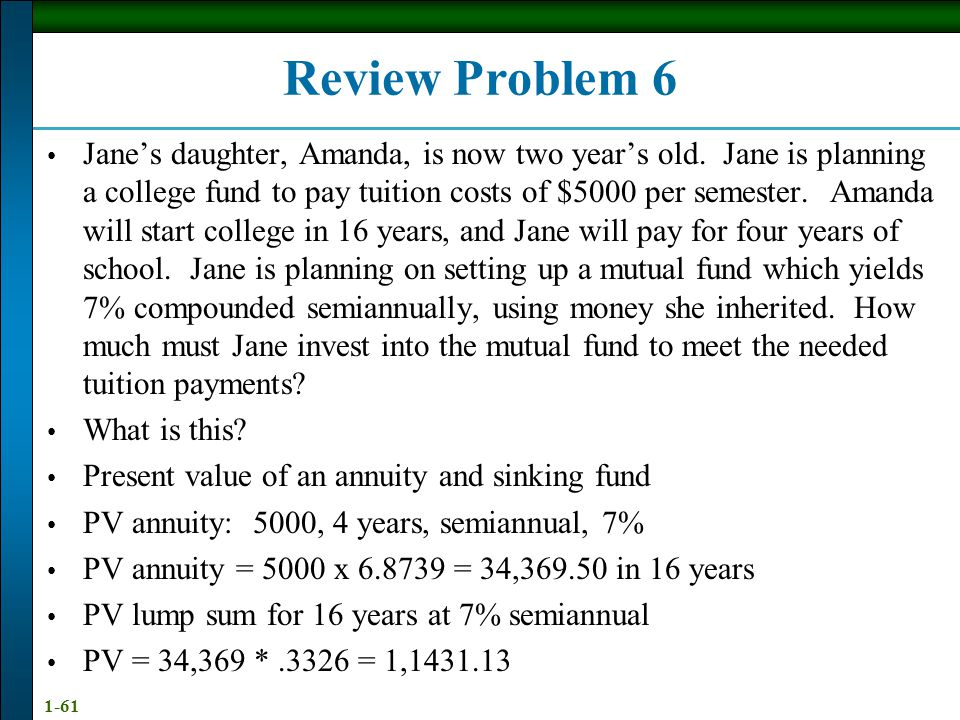 1-61 Review Problem 6 Jane's daughter, Amanda, is now two year's old.