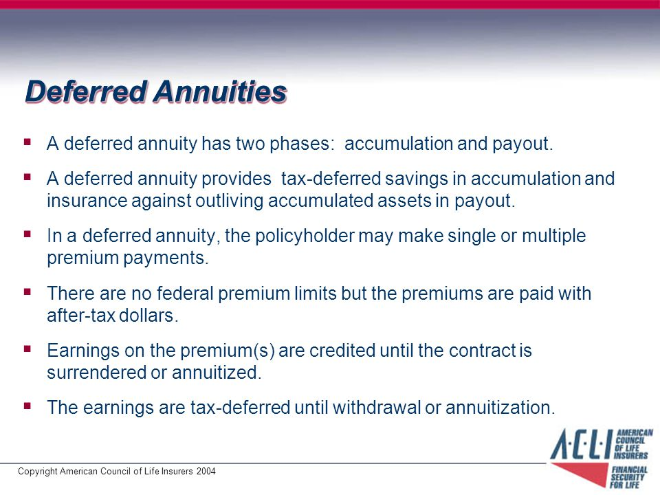 Copyright American Council of Life Insurers 2004 Deferred Annuities  A deferred annuity has two phases: accumulation and payout.