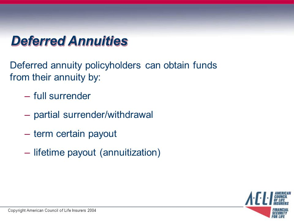 Copyright American Council of Life Insurers 2004 Deferred Annuities Deferred annuity policyholders can obtain funds from their annuity by: –full surrender –partial surrender/withdrawal –term certain payout –lifetime payout (annuitization)