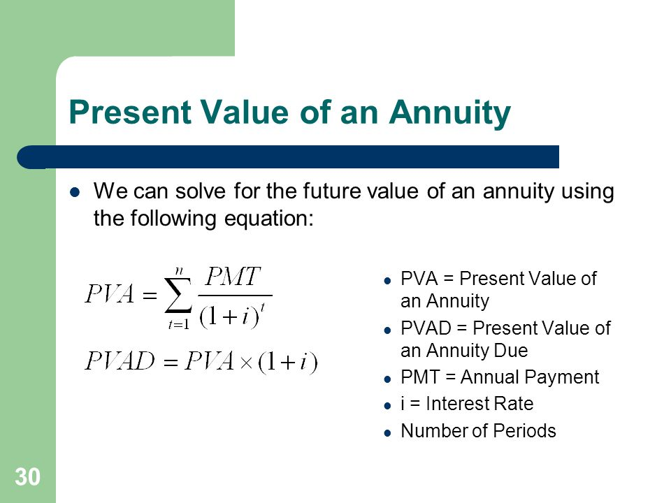 30 Present Value of an Annuity We can solve for the future value of an annuity using the following equation: PVA = Present Value of an Annuity PVAD = Present Value of an Annuity Due PMT = Annual Payment i = Interest Rate Number of Periods