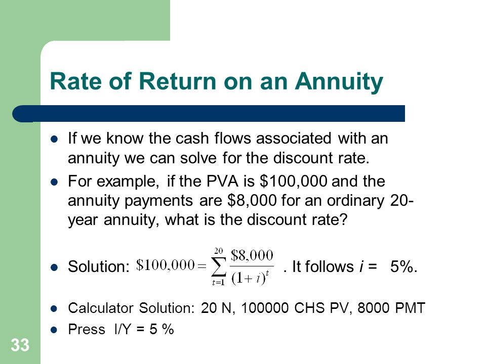 33 Rate of Return on an Annuity If we know the cash flows associated with an annuity we can solve for the discount rate.