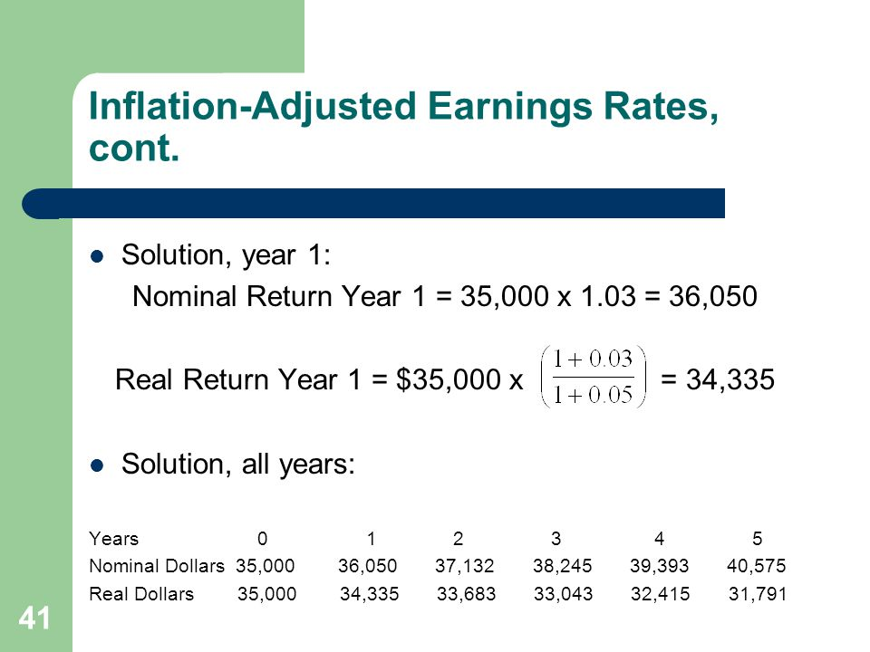 41 Inflation-Adjusted Earnings Rates, cont.