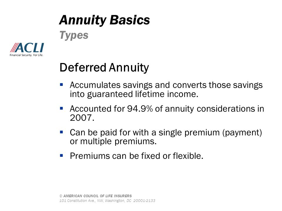 © AMERICAN COUNCIL OF LIFE INSURERS 101 Constitution Ave., NW, Washington, DC 20001-2133 Deferred Annuity  Accumulates savings and converts those sav