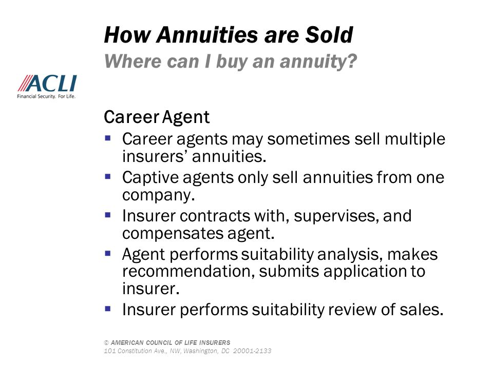 © AMERICAN COUNCIL OF LIFE INSURERS 101 Constitution Ave., NW, Washington, DC 20001-2133 How Annuities are Sold Where can I buy an annuity? Career Age