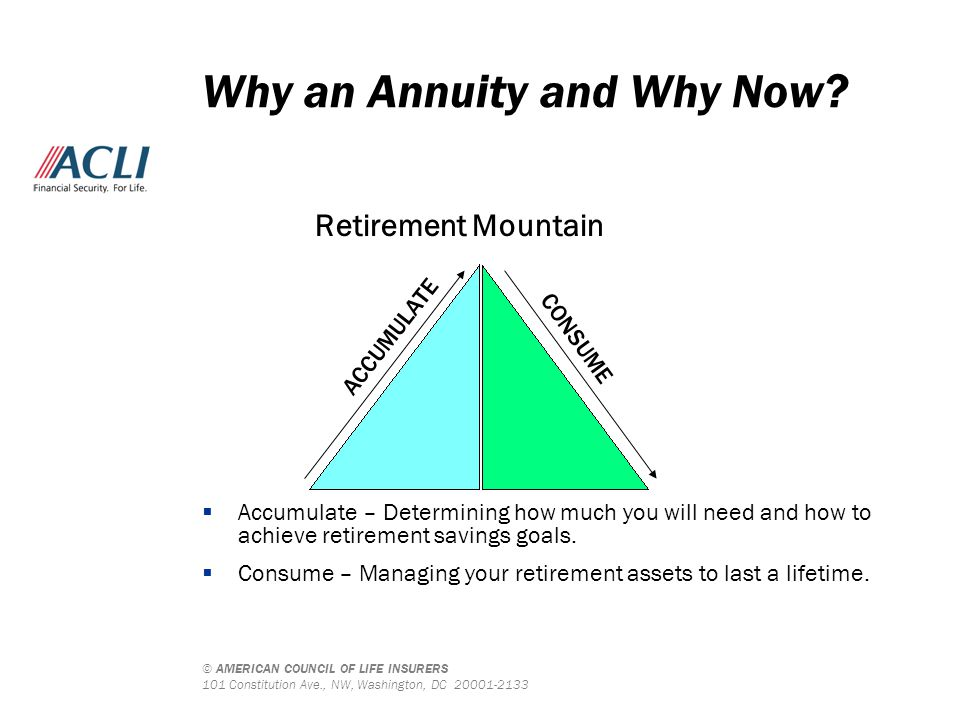 © AMERICAN COUNCIL OF LIFE INSURERS 101 Constitution Ave., NW, Washington, DC 20001-2133 Why an Annuity and Why Now? Retirement Mountain  Accumulate