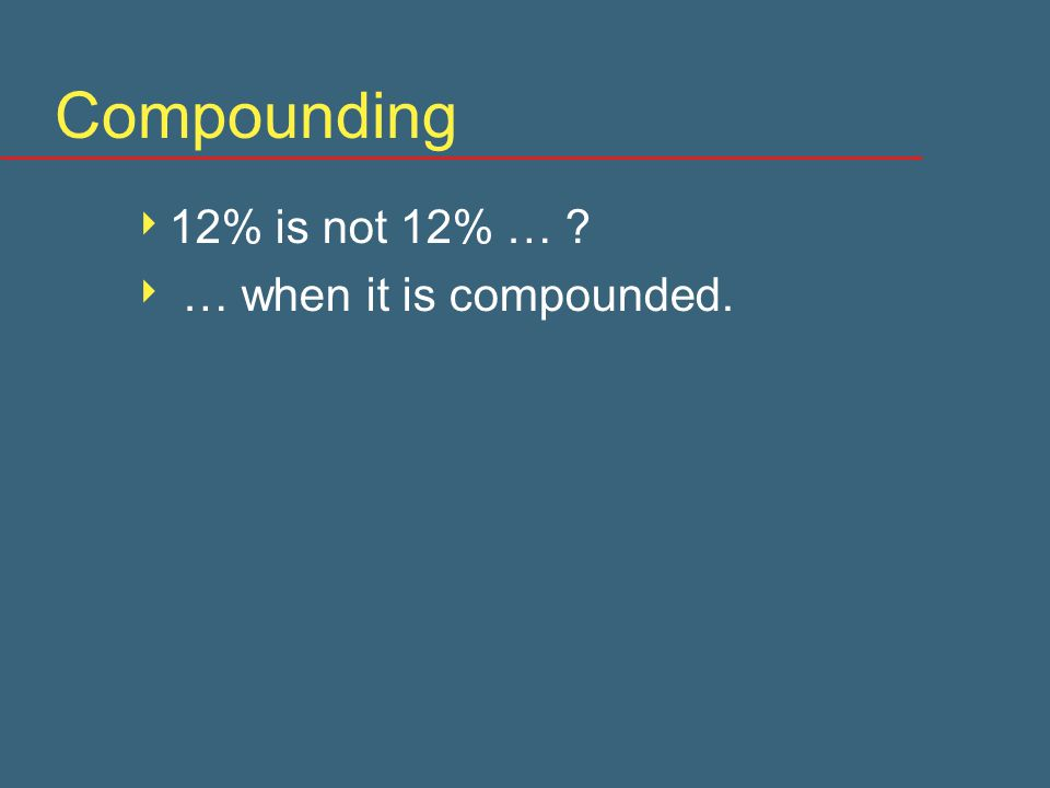 Compounding  12% is not 12% …  … when it is compounded.