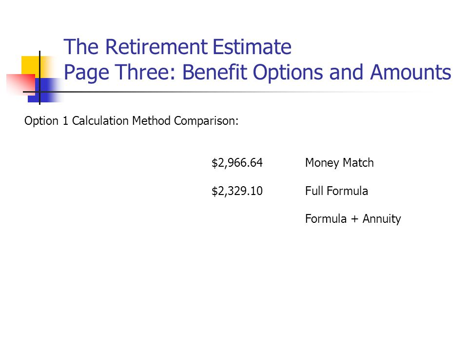 The Retirement Estimate Page Three: Benefit Options and Amounts Option 1 Calculation Method Comparison: $2,966.64Money Match $2,329.10Full Formula Formula + Annuity