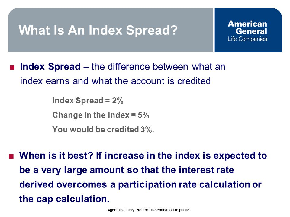 Agent Use Only. Not for dissemination to public. What Is An Index Spread.