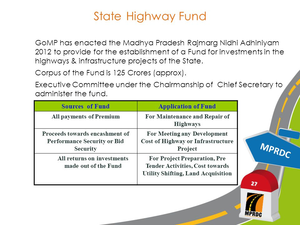 State Highway Fund MPRDC 27 GoMP has enacted the Madhya Pradesh Rajmarg Nidhi Adhiniyam 2012 to provide for the establishment of a Fund for investments in the highways & infrastructure projects of the State.