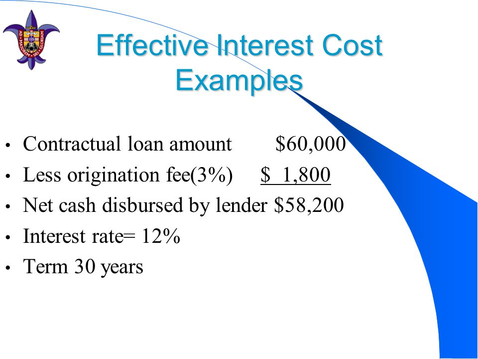 Effective Interest Cost Examples Contractual loan amount $60,000 Less origination fee(3%) $ 1,800 Net cash disbursed by lender $58,200 Interest rate= 12% Term 30 years