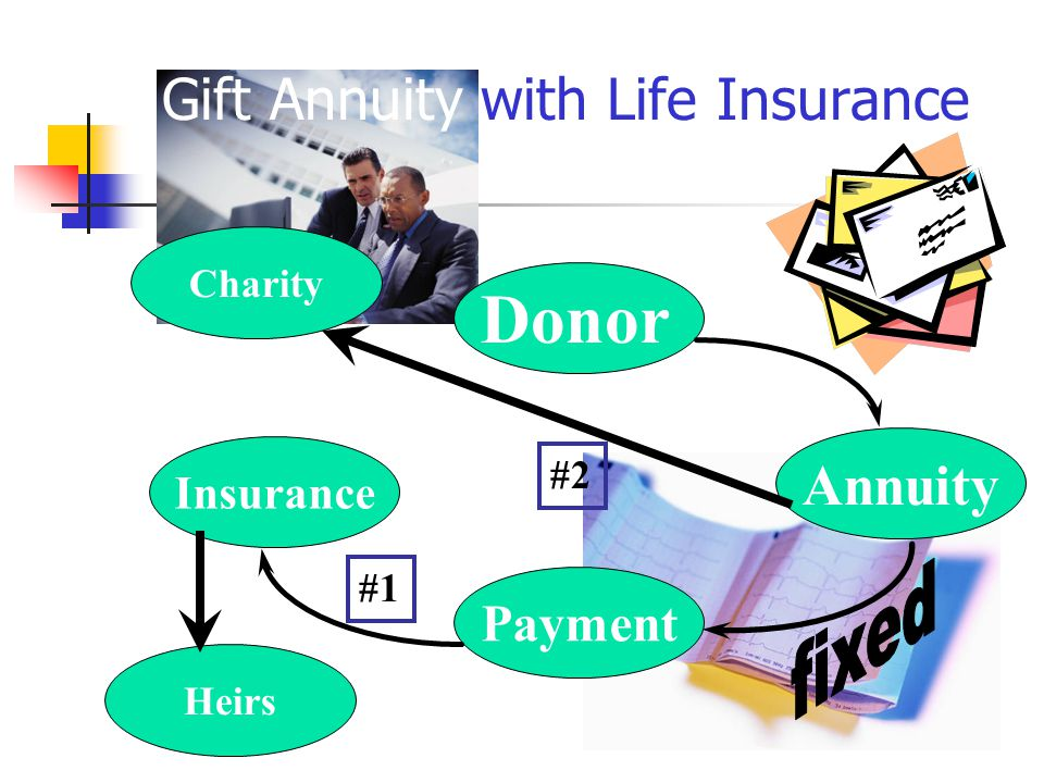 Charity Insurance Payment Annuity Donor Heirs Gift Annuity with Life Insurance #1 #2
