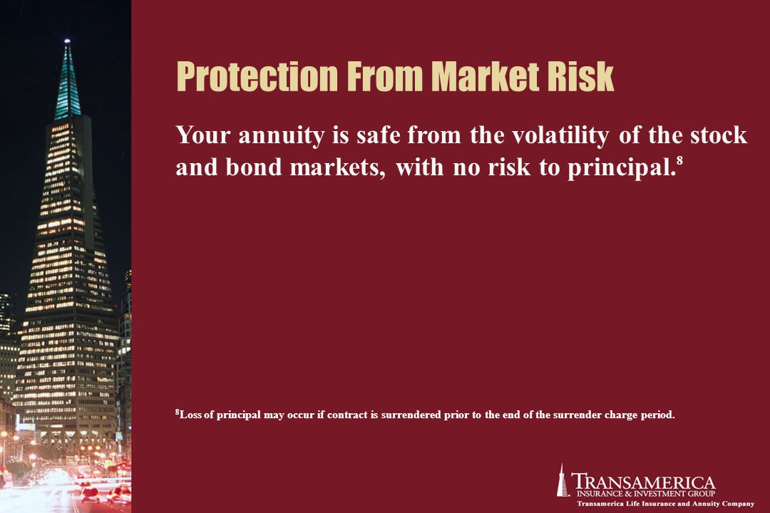 Protection From Market Risk Your annuity is safe from the volatility of the stock and bond markets, with no risk to principal.