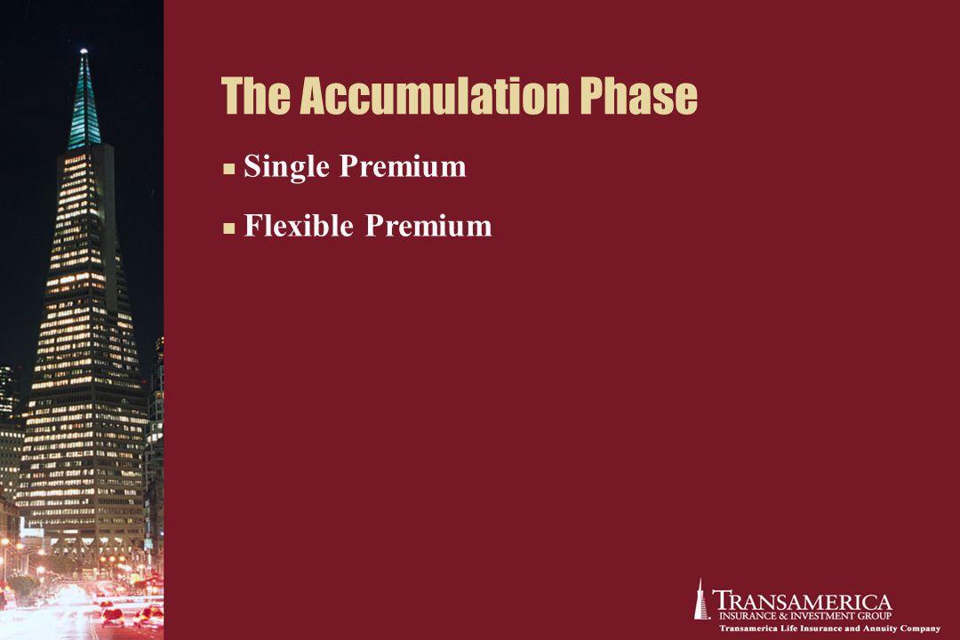 The Accumulation Phase Single Premium Flexible Premium
