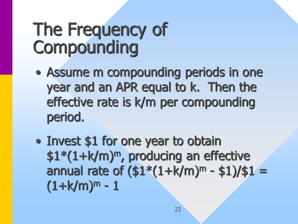 23 The Frequency of Compounding Assume m compounding periods in one year and an APR equal to k. Then the effective rate is k/m per compounding period.