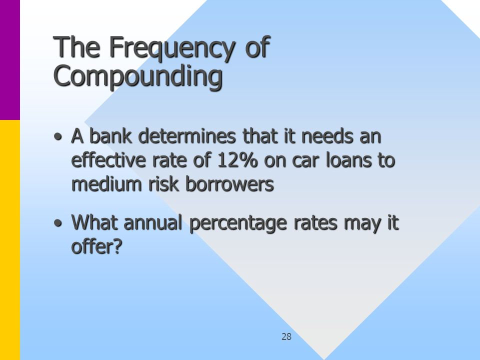 28 The Frequency of Compounding A bank determines that it needs an effective rate of 12% on car loans to medium risk borrowersA bank determines that it needs an effective rate of 12% on car loans to medium risk borrowers What annual percentage rates may it offer?What annual percentage rates may it offer?