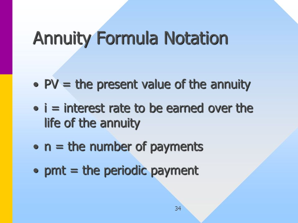 34 Annuity Formula Notation PV = the present value of the annuityPV = the present value of the annuity i = interest rate to be earned over the life of the annuityi = interest rate to be earned over the life of the annuity n = the number of paymentsn = the number of payments pmt = the periodic paymentpmt = the periodic payment