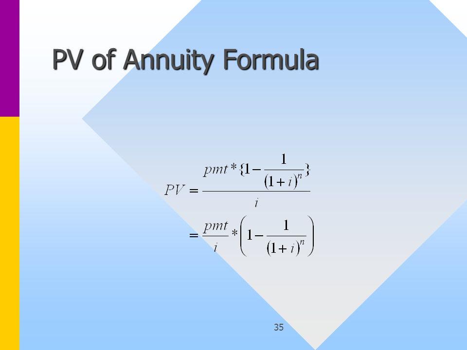 35 PV of Annuity Formula