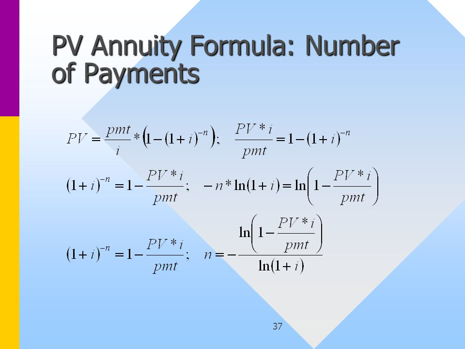 37 PV Annuity Formula: Number of Payments