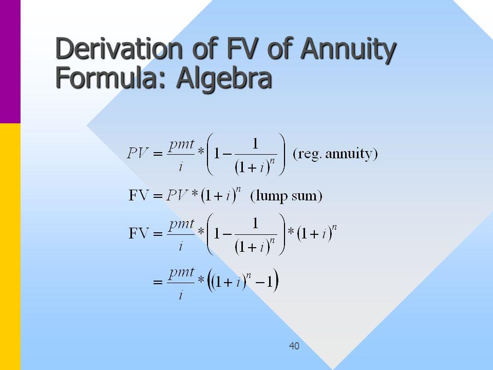 40 Derivation of FV of Annuity Formula: Algebra