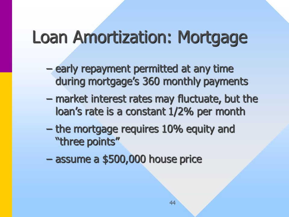 44 Loan Amortization: Mortgage –early repayment permitted at any time during mortgage's 360 monthly payments –market interest rates may fluctuate, but the loan's rate is a constant 1/2% per month –the mortgage requires 10% equity and three points –assume a $500,000 house price