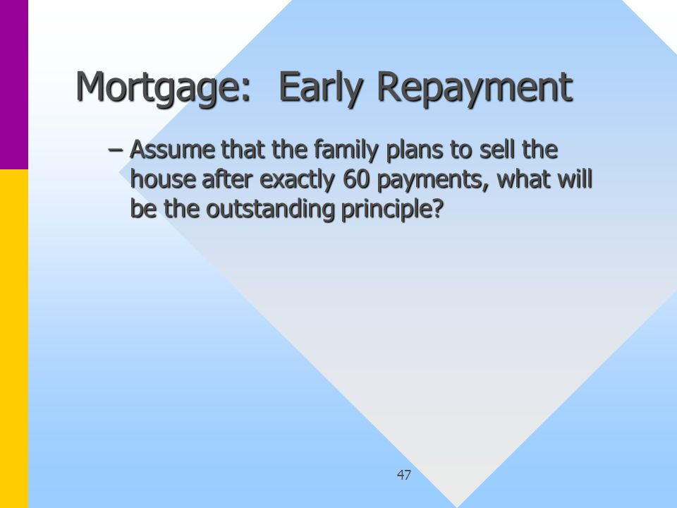 47 Mortgage: Early Repayment –Assume that the family plans to sell the house after exactly 60 payments, what will be the outstanding principle?