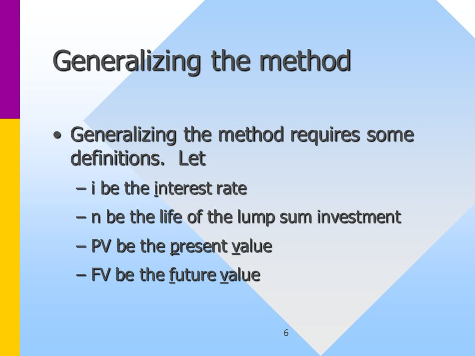 6 Generalizing the method Generalizing the method requires some definitions. LetGeneralizing the method requires some definitions. Let –i be the inter