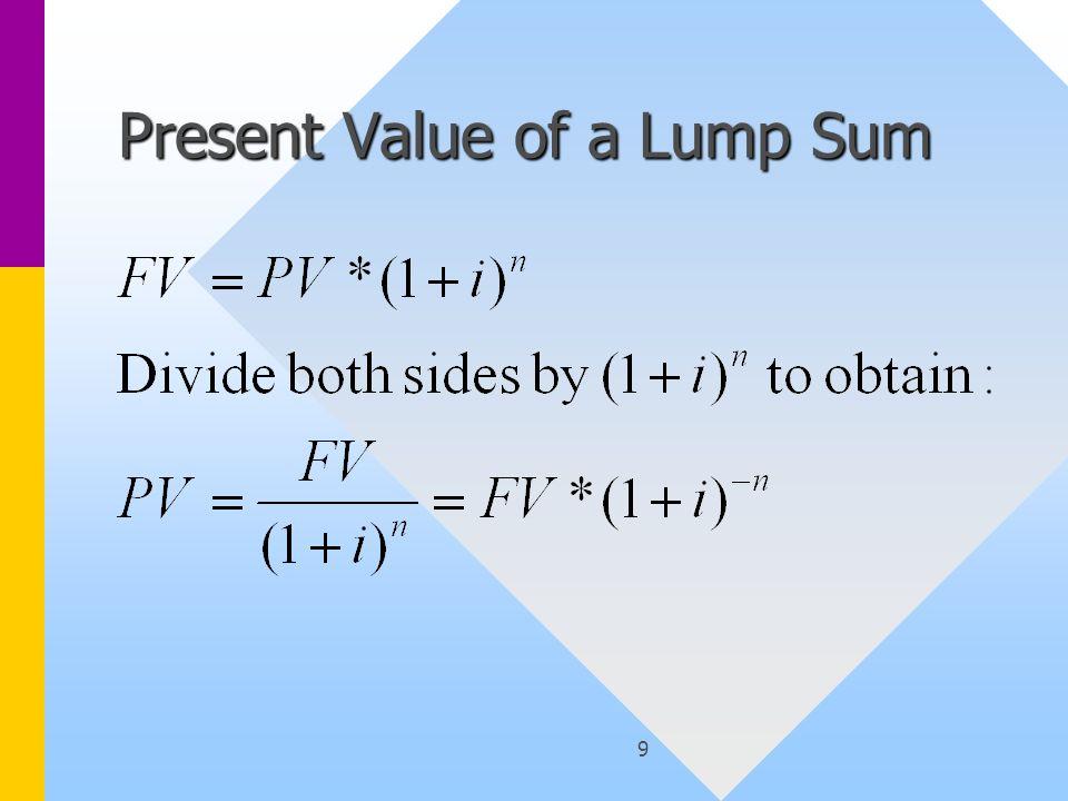 9 Present Value of a Lump Sum