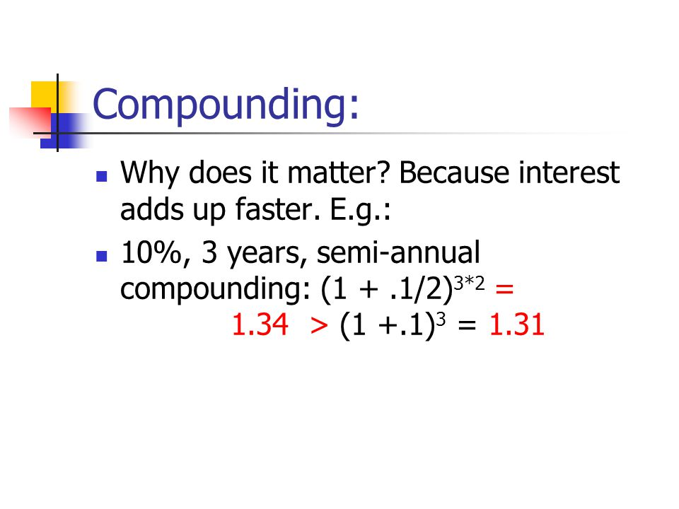Compounding: Why does it matter? Because interest adds up faster. E.g.: 10%, 3 years, semi-annual compounding: (1 +.1/2) 3*2 = 1.34 > (1 +.1) 3 = 1.31