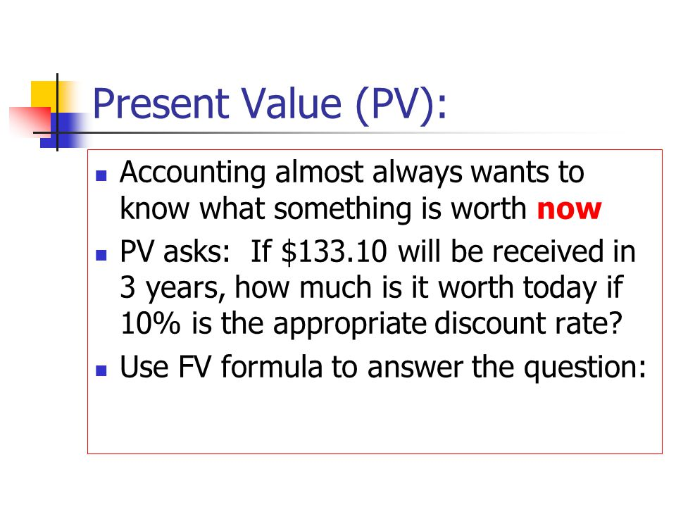 Present Value (PV): Accounting almost always wants to know what something is worth now PV asks: If $133.10 will be received in 3 years, how much is it