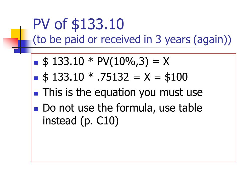 PV of $133.10 (to be paid or received in 3 years (again)) $ 133.10 * PV(10%,3) = X $ 133.10 *.75132 = X = $100 This is the equation you must use Do no