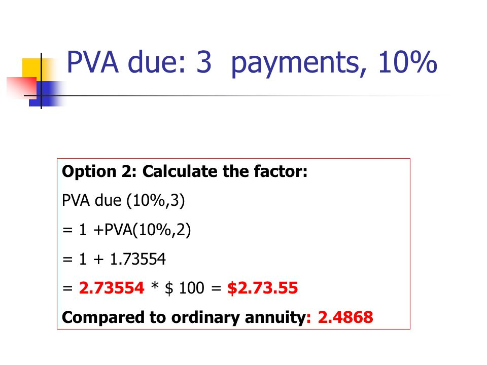 Option 2: Calculate the factor: PVA due (10%,3) = 1 +PVA(10%,2) = 1 + 1.73554 = 2.73554 * $ 100 = $2.73.55 Compared to ordinary annuity: 2.4868