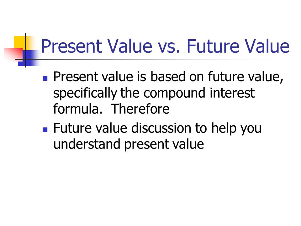 Present Value vs. Future Value Present value is based on future value, specifically the compound interest formula. Therefore Future value discussion t