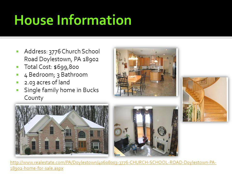  Address: 3776 Church School Road Doylestown, PA 18902  Total Cost: $699,800  4 Bedroom; 3 Bathroom  2.03 acres of land  Single family home in Bu