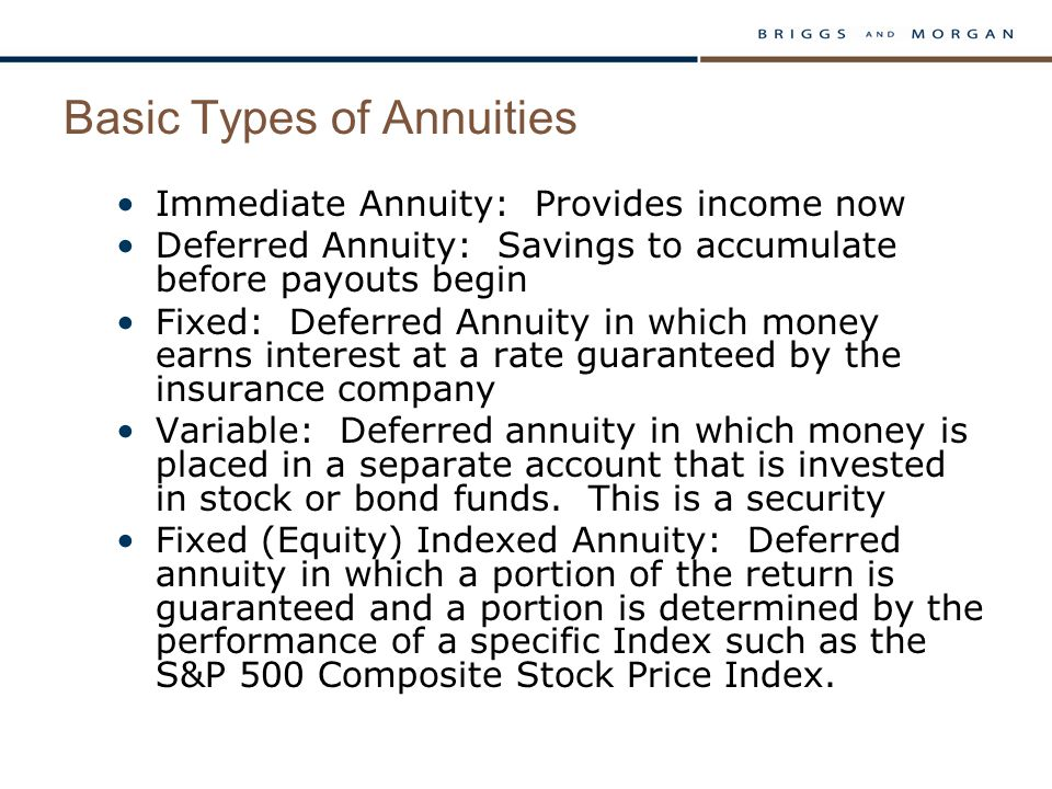 Basic Types of Annuities Immediate Annuity: Provides income now Deferred Annuity: Savings to accumulate before payouts begin Fixed: Deferred Annuity i