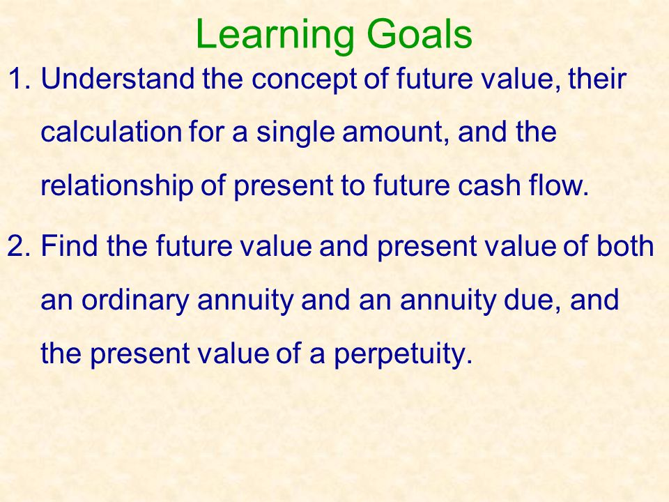 Present Value of an Ordinary Annuity Annuity = Equal Annual Series of Cash Flows Example: How much could you borrow if you could afford annual payments of $2,000 (which includes both principal and interest) at the end of each year for three years at 10% interest.