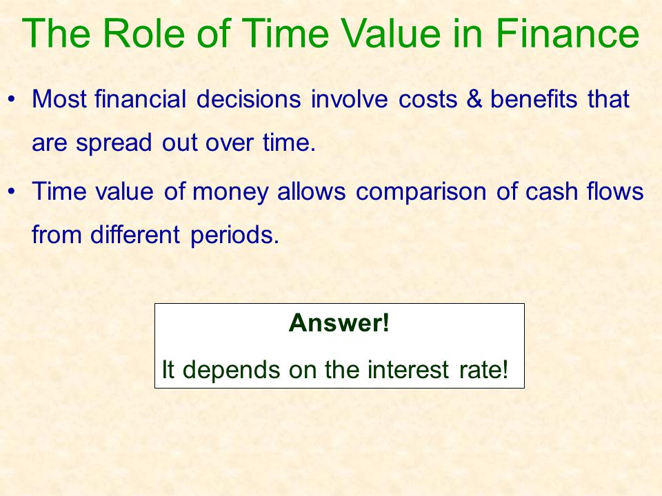 Basic Concepts Future Value: compounding or growth over time Present Value: discounting to today's value Single cash flows & series of cash flows can be considered Time lines are used to illustrate these relationships