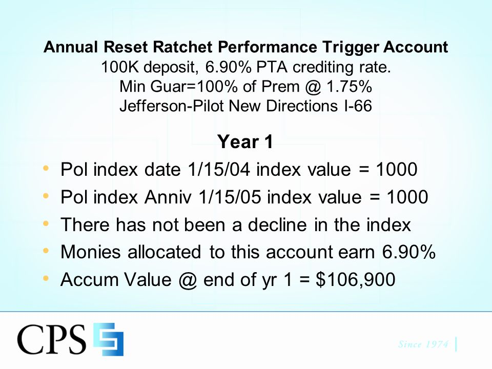 Annual Reset Ratchet Performance Trigger Account 100K deposit, 6.90% PTA crediting rate.