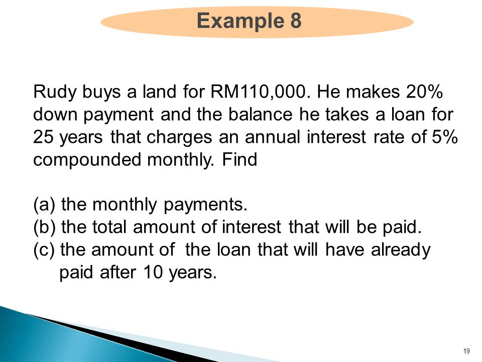 19 Example 8 Rudy buys a land for RM110,000.